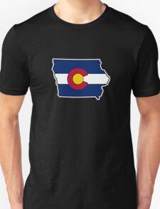 Iowa outline Colorado flag Unisex T-Shirt