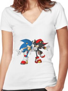 sonic and shadow Women's Fitted V-Neck T-Shirt