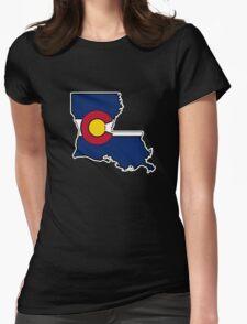Louisiana outline Colorado flag T-Shirt