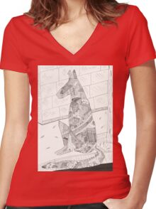 Street dog Women's Fitted V-Neck T-Shirt