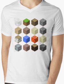 Mine Cubes Elements Isometric Mens V-Neck T-Shirt