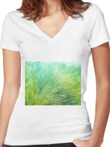 Spring Grass. Women's Fitted V-Neck T-Shirt