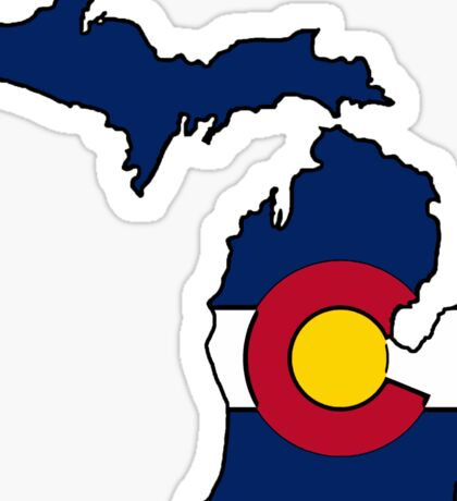Michigan outline Colorado flag Sticker