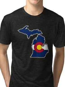 Michigan outline Colorado flag Tri-blend T-Shirt