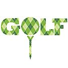 Golf argyle style plaid tee graphic logo by Sarah Trett