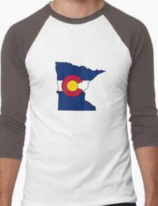 Minnesota outline Colorado flag Men's Baseball ¾ T-Shirt