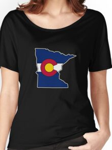 Minnesota outline Colorado flag Women's Relaxed Fit T-Shirt