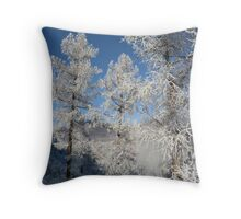 larch in snow, Siberia, Russia Throw Pillow