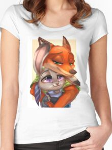 Zootopia - Nick x Judy Women's Fitted Scoop T-Shirt