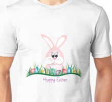 Cute Pink Easter Bunny and Eggs Unisex T-Shirt