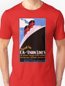 Vintage ocean travel New Zealand USA Canada Europe advert T-Shirt
