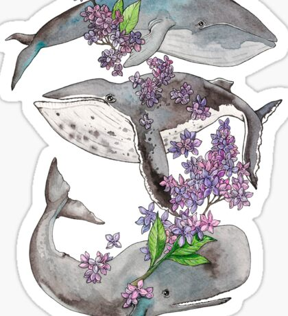 Spring whales and lilac Sticker