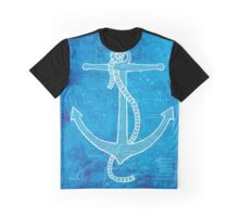 Anchor, Illustration Over Nautical Map Graphic T-Shirt