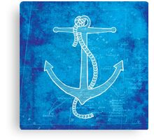 Anchor, Illustration Over Nautical Map Canvas Print