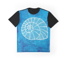 Conch, Illustration Over Nautical Map Graphic T-Shirt