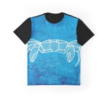 Crab, Illustration Over Nautical Map Graphic T-Shirt