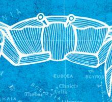 Crab, Illustration Over Nautical Map Sticker