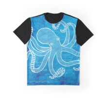 Octopus, Illustration Over Nautical Map Graphic T-Shirt