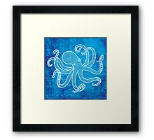 Octopus, Illustration Over Nautical Map Framed Print