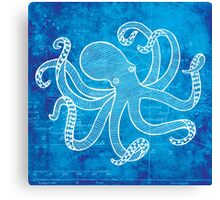 Octopus, Illustration Over Nautical Map Canvas Print