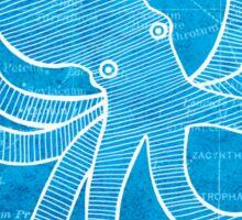 Octopus, Illustration Over Nautical Map Sticker