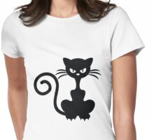 Angry Black Cat Womens Fitted T-Shirt