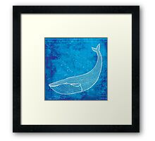 Whale, Illustration Over Nautical Map Framed Print