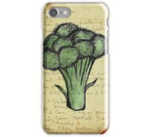Broccoli, Illustration Over Recipe Handwriting iPhone Case/Skin