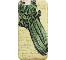 Celery, Illustration Over Recipe Handwriting iPhone Case/Skin