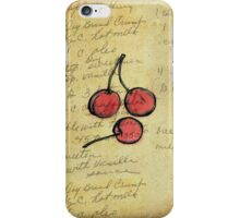 Cherries, Illustration Over Recipe Handwriting iPhone Case/Skin