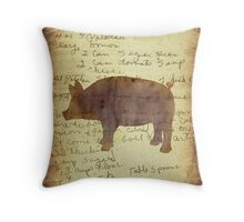 Pig, Illustration Over Recipe Handwriting Throw Pillow