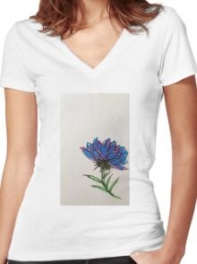 colorful flower Women's Fitted V-Neck T-Shirt