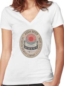JAPANESE BEER ASAHI Women's Fitted V-Neck T-Shirt