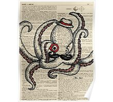 Octopus with Monocle Poster