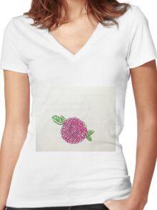 pink poppy flower Women's Fitted V-Neck T-Shirt