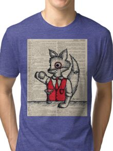 Fox with Monocle Tri-blend T-Shirt