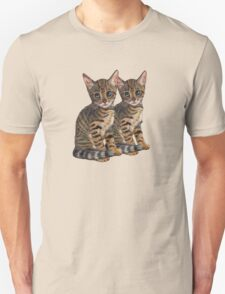 Bengal Kittens: Color Pencil Drawing of CATS Unisex T-Shirt