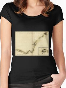 American Revolutionary War Era Maps 1750-1786 872 Sketch of Haddonfield March 1778 Sketch of the roads from Pennyhill to Black Horse through Mount Holly Women's Fitted Scoop T-Shirt