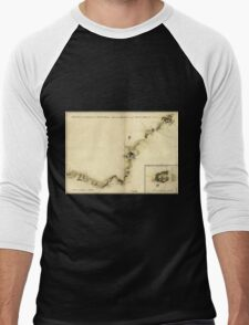 American Revolutionary War Era Maps 1750-1786 872 Sketch of Haddonfield March 1778 Sketch of the roads from Pennyhill to Black Horse through Mount Holly Men's Baseball ¾ T-Shirt