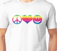 Peace, Love, and Happiness Unisex T-Shirt
