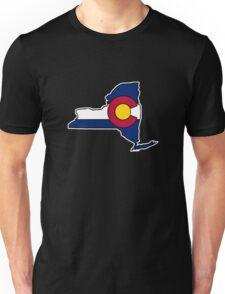 New York outline Colorado flag Unisex T-Shirt