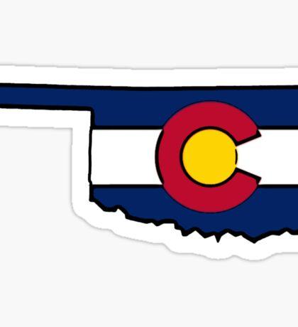 Oklahoma outline Colorado flag Sticker