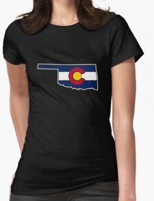 Oklahoma outline Colorado flag Womens Fitted T-Shirt