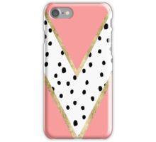 Modern pastel pink color block polka dots gold iPhone Case/Skin