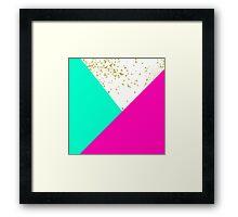 Modern neon pink turquoise color block gold girly Framed Print