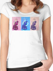 Pretty In Pink & Blue Women's Fitted Scoop T-Shirt