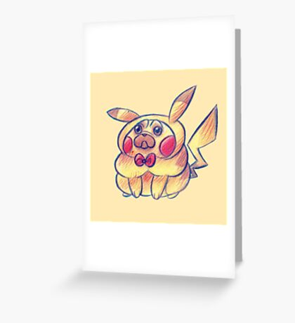Electric Pug Greeting Card