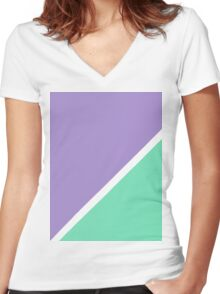 Modern Turquoise purple color block pattern  Women's Fitted V-Neck T-Shirt