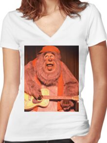 Big Bear Big Al Blood On The Saddle Country Bears Bear Women's Fitted V-Neck T-Shirt
