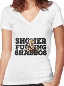 Shomer Shabbos- the big lebowski Women's Fitted V-Neck T-Shirt